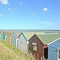 Buy canvas prints of Beach Hut Summer by Oliver Porter