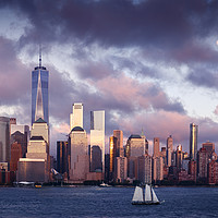 Buy canvas prints of Lower Manhattan Skyline and moon rising at Blue Ho by Pere Sanz