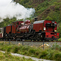Buy canvas prints of Steam train in Snowdonia, Wales by Pere Sanz