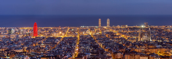 Barcelona skyline panorama at night Framed Mounted Print by Pere Sanz