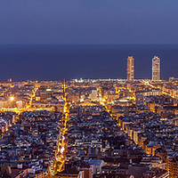 Buy canvas prints of Barcelona skyline panorama at night by Pere Sanz