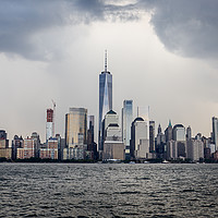 Buy canvas prints of Lower Manhattan Skyline on a cloudy day, NYC, USA by Pere Sanz
