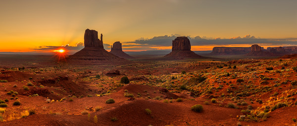 Sunrise over Monument Valley Panorama  Canvas Print by Pere Sanz