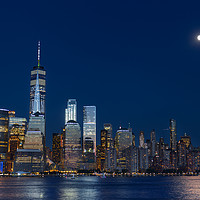 Buy canvas prints of Lower Manhattan Skyline at blue hour, NYC, USA by Pere Sanz