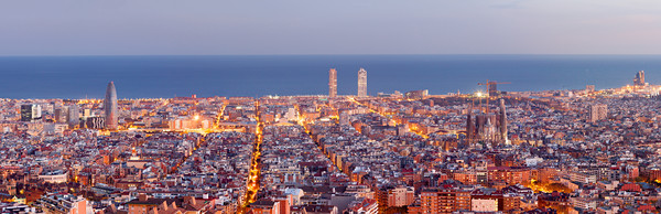 Barcelona skyline panorama at the Blue Hour Canvas Print by Pere Sanz