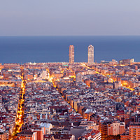 Buy canvas prints of Barcelona skyline panorama at the Blue Hour by Pere Sanz