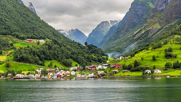 The Picturesque village of Undredal seen from the  Framed Mounted Print by Pere Sanz