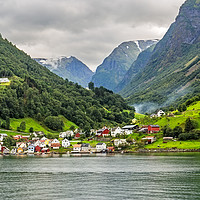 Buy canvas prints of The Picturesque village of Undredal seen from the  by Pere Sanz