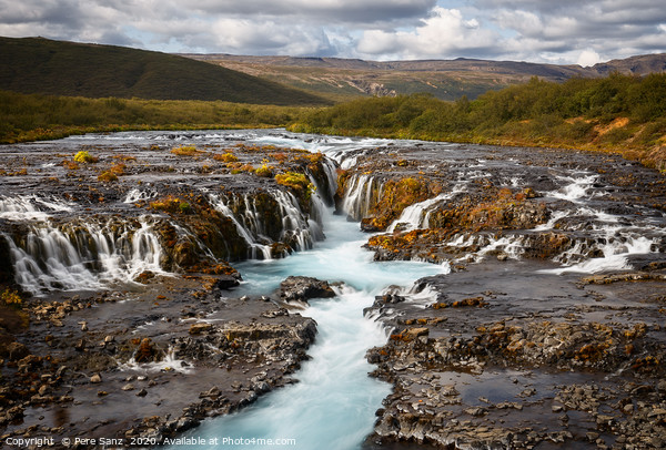 Beautiful Turquoise Bruarfoss Waterfall, Iceland  Framed Mounted Print by Pere Sanz