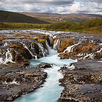 Buy canvas prints of Beautiful Turquoise Bruarfoss Waterfall, Iceland  by Pere Sanz