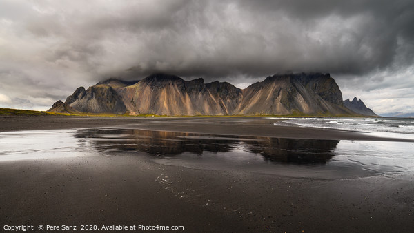 Vestrahorn mountain on Stokksnes cape in Iceland Framed Mounted Print by Pere Sanz