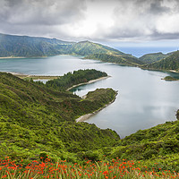 Buy canvas prints of Lagoa do Fogo, a volcanic lake in Sao Miguel, Azor by Pere Sanz
