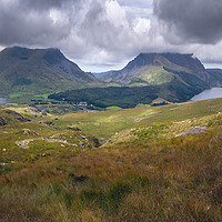 Buy canvas prints of Panorama of Cloudy Landscape in Snowdonia, Wales,  by Pere Sanz