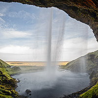 Buy canvas prints of  Seljalandsfoss Waterfall view from behind in Icel by Pere Sanz