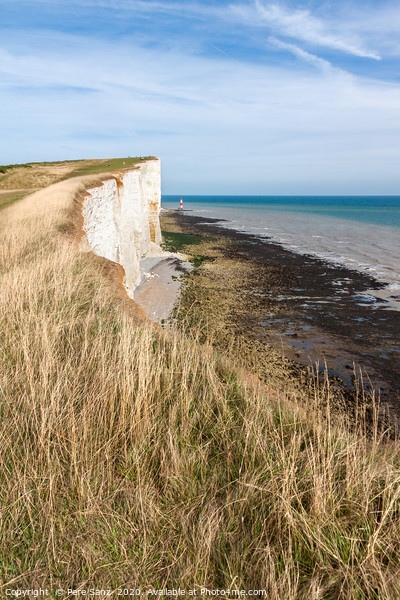 Beachy Head and  Lighthouse in Eastbourne Canvas Print by Pere Sanz