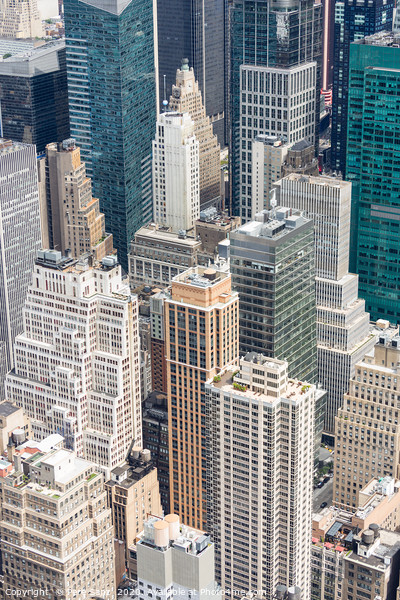 Manhattan Skyscraprers Aerial View, NYC, USA Framed Mounted Print by Pere Sanz