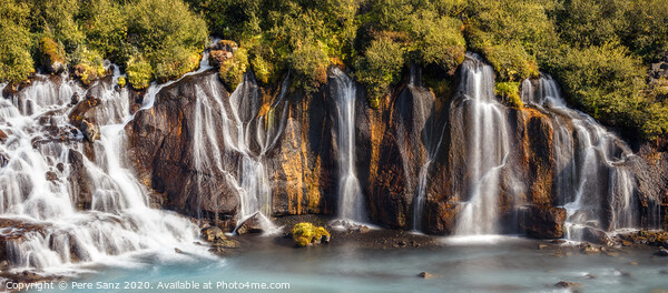 View of Colorful Hraunfossar Waterfall, Iceland Framed Mounted Print by Pere Sanz