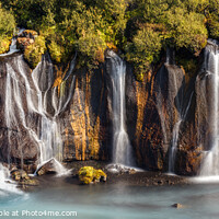 Buy canvas prints of View of Colorful Hraunfossar Waterfall, Iceland by Pere Sanz