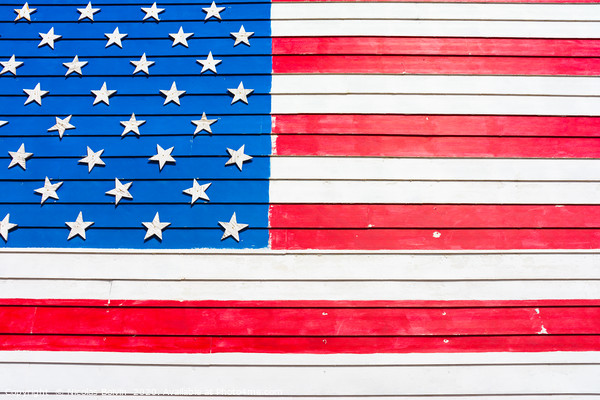 USA flag painted on wall Framed Mounted Print by Nicolas Boivin