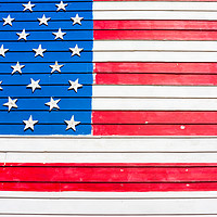 Buy canvas prints of USA flag painted on wall by Nicolas Boivin