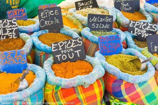Various spices on a food market Canvas Print by Nicolas Boivin