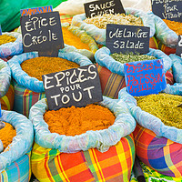 Buy canvas prints of Various spices on a food market by Nicolas Boivin