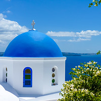 Buy canvas prints of Traditional church in Santorini island by Nicolas Boivin