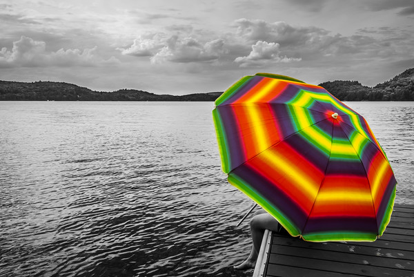Standout Rainbow Umbrella  Framed Mounted Print by Blok Photo