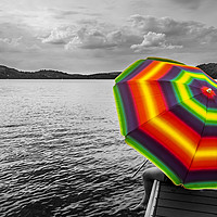 Buy canvas prints of Standout Rainbow Umbrella  by Blok Photo