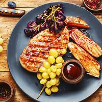 Buy canvas prints of Sliced grilled chicken breast. by Mykola Lunov Mykola