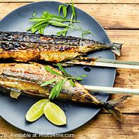 Buy canvas prints of Fish kebab on skewers by Mykola Lunov Mykola