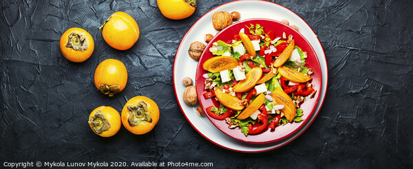 Salad with persimmon Framed Print by Mykola Lunov Mykola