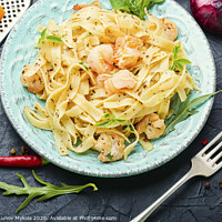 Buy canvas prints of Plate of pasta with shrimps by Mykola Lunov Mykola