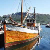 Buy canvas prints of Wooden fishing boat in Tromso by chris hyde