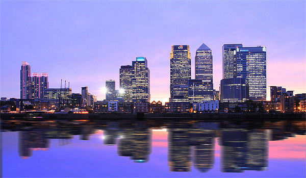 Docklands Canary Wharf sunset Canvas print by David French