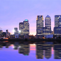 Buy canvas prints of Docklands Canary Wharf sunset by David French