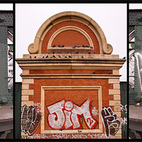 Buy canvas prints of Hungerford Bridge graffiti tripitch by David French