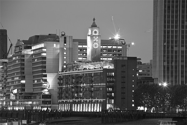 Night view of the Oxo Tower BW Canvas print by David French