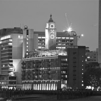 Buy canvas prints of Night view of the Oxo Tower BW by David French