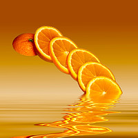 Buy canvas prints of Slices Orange Citrus Fruit by David French