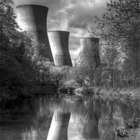 Buy canvas prints of Power Station Ironbridge BW by David French