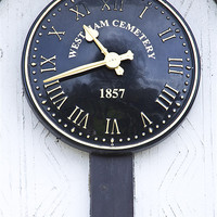 Buy canvas prints of Westham  Cemetery clock 1857 by David French