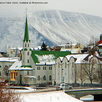 Buy canvas prints of The Free Church. Reykjavic, Iceland by Laurence Tobin