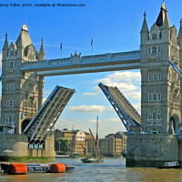 Buy canvas prints of Tower Bridge with Raised Bascules by Laurence Tobin