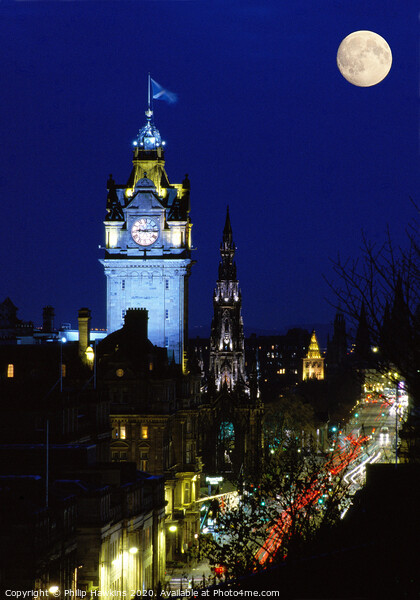 Moon over Princes Street Canvas Print by Philip Hawkins