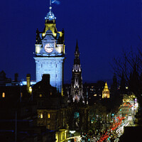 Buy canvas prints of Moon over Princes Street by Philip Hawkins