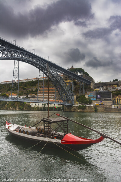 Boat and bridge Print by Vicente Sargues