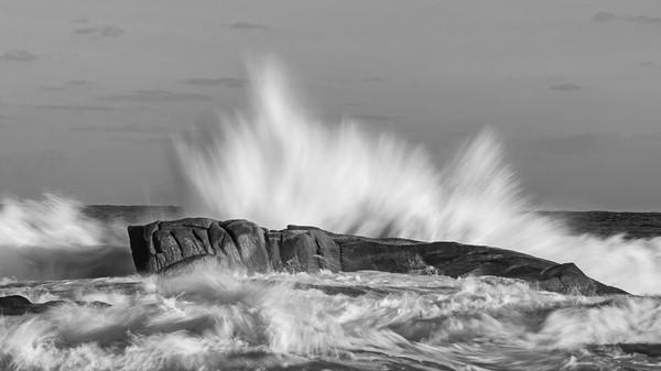 Big waves in black and white Acrylic by Arpad Radoczy
