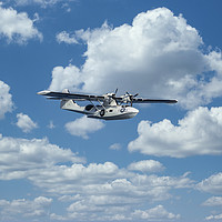 Buy canvas prints of Nice seaplane airplane in the sky by Arpad Radoczy