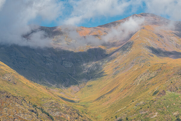 Pyrenees mountain from Catalonia of Spain in a sunny day, beautiful cumulus clouds Canvas Print by Arpad Radoczy